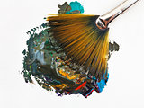 fan paintbrush blends multicolored watercolors
