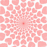 Design doodle red heart spiral movement background. Valentines D