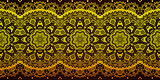 Decorative golden lace stripe pattern on black background.