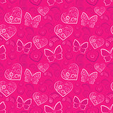 Romantic heart and butterfly vector seamless pattern