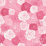 Rose vector seamless pattern