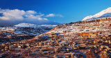 Mountainous town in winter