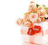 Beautiful roses with gift box & hearts