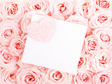 Beautiful roses with gift card & heart
