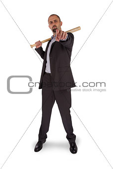 Portrait of angry businessman holding baseball bat