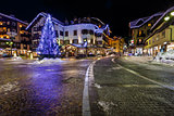 Illuminated Central Square of Madonna di Campiglio in the Evenin