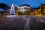 Illuminated Central Square of Madonna di Campiglio in the Mornin