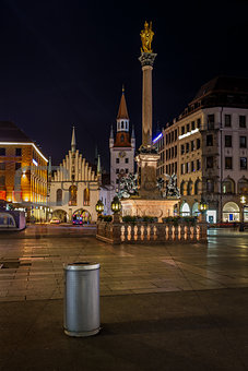 Old Town Hall and Marienplatz in Munich at Night, Bavaria, Germa