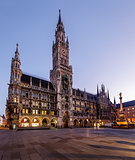 New Town Hall and Marienplatz in Munich at Dawn, Bavaria, German