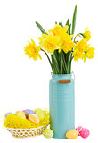 bouquet of daffodils flowers with easter eggs