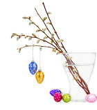 Willow twigs and Hanging  easter eggs