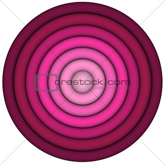 3d render concentric pipes in multiple pink red