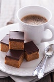 Peanut butter and dark chocolate squares