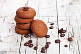 chocolate cookies and coffee beans