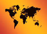 world map  on an orange background