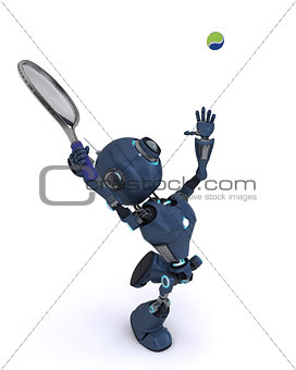 3D Render of an Android playing tennis