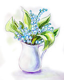 Lilies of the valley in jug. Watercolor painting.