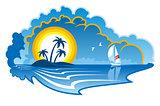 Idyllic tropical island with a yacht