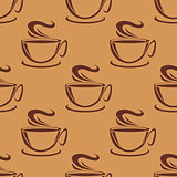 Seamless pattern of cups of steaming coffee