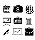 Set of black and white business icons
