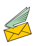 Envelope with wings, symbol of fast delivery