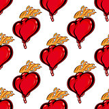 Seamless pattern with hearts on fire