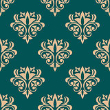Pretty green retro floral motif wallpaper design