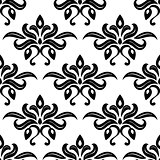 Modern foliate black and white arabesque pattern