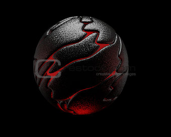 Black reflective sphere,  red interior, 3D