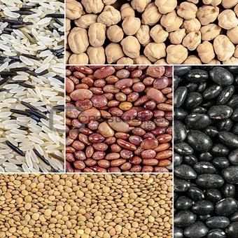 Beans, lentils, rice, chickpeas