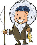 Cute cartoon eskimo fisherman