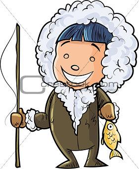 Cute cartoon eskimo fisherman