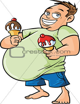 Cartoon overweight man holding two ice creams