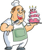 Cartoon baker with a spoon and big cake