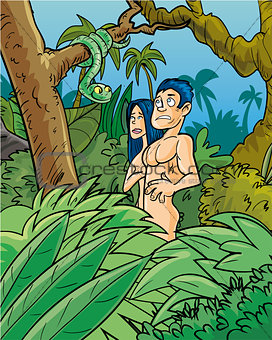 Adam and Eve being tempted by the snake