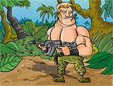 Cartoon muscled soldier in the jungle