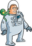 Cartoon astronaut with alien on his shoulder