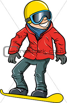 Cartoon smiling olympic snowboarder