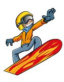 Cartoon snowboarder flying through the air