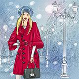 Vector beautiful fashionable girl on the Christmas Cityscape
