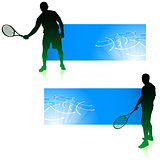 Tennis Player with Blue Banners