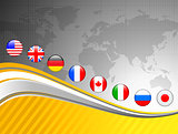 World Map with Internet Flag Buttons Background
