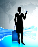 Businesswoman traveling around the world