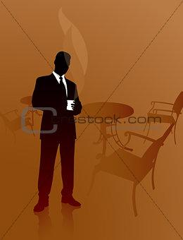 Business man on a coffee break