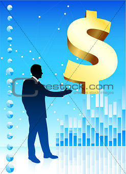Business man on background with golden dollar