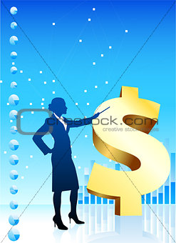 Business woman on background with financial charts and golden do