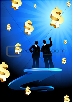 Business of profits background with two people