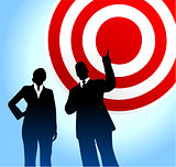 Bull's eye target background with business executives