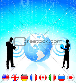 Business couple with globe and internet flag buttons
