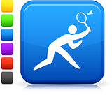 badminton icon on square internet button